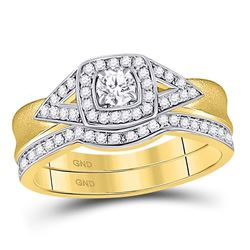 1/2 CTW Round Diamond Bridal Wedding Engagement Ring 14kt Yellow Gold - REF-65F9M