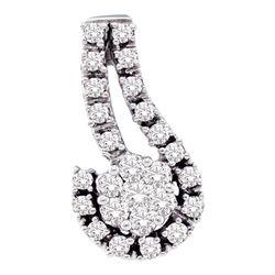 1/4 CTW Round Diamond Cradled Flower Cluster Pendant 14kt White Gold - REF-18K3R