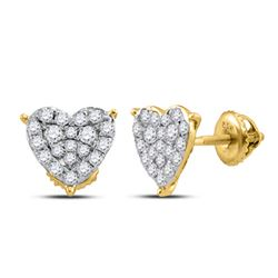 1/2 CTW Round Diamond Heart Earrings 10kt Yellow Gold - REF-27H5W