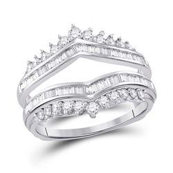 3/4 CTW Round Diamond Wedding Wrap Ring 14kt White Gold - REF-71K9R