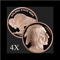 2 oz Buffalo .999 Fine Copper Bullion Round