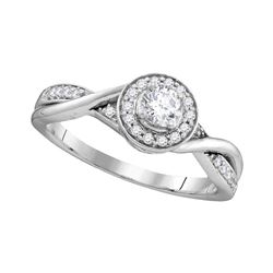 1/3 CTW Round Diamond Solitaire Twist Bridal Wedding Engagement Ring 10kt White Gold - REF-38H4W