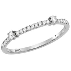 1/6 CTW Round Diamond Single Row Stackable Ring 10kt White Gold - REF-13R2H