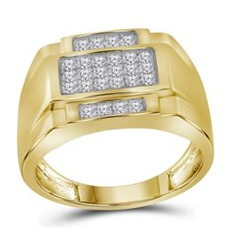 1/2 CTW Mens Round Diamond Square Cluster Ring 10kt Yellow Gold - REF-45A3N