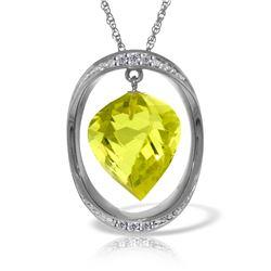 Genuine 10.85 ctw Lemon Quartz & Diamond Necklace 14KT White Gold - REF-111R2P