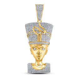 1 & 1/3 CTW Mens Round Diamond Nefertiti Pharaoh Charm Pendant 10kt Yellow Gold - REF-111N6Y
