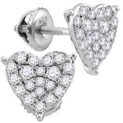 3/4 CTW Round Diamond Heart Cluster Stud Earrings 10kt White Gold - REF-40A8N