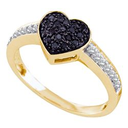 1/3 CTW Black Color Enhanced Round Diamond Heart Cluster Ring 10kt Yellow Gold - REF-20Y3X