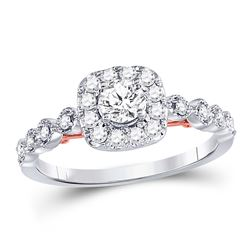 3/4 CTW Round Diamond Solitaire Bridal Wedding Engagement Ring 14kt Two-tone Gold - REF-87Y5X