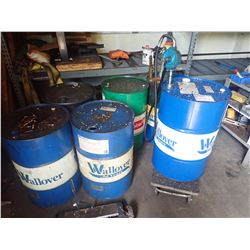 Lot of 6 50 Gallon Drums