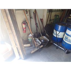 Lot of Misc Items, Shovels/Brooms/Hose Etc