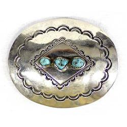 Navajo German Silver & Turquoise Belt Buckle
