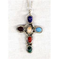 Navajo Sterling Multi-Stone Cross Necklace
