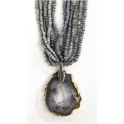 Hand Beaded Agate Pendant Necklace, Kills Thunder