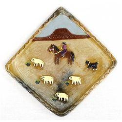 2007 Navajo Pictorial Pottery Tile, E. Manygoats