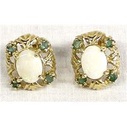 10KT Gold, Opal, and Emerald Earrings