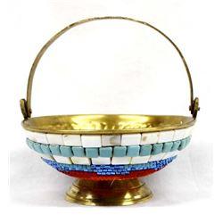 Hand Beaded Brass Bowl by Kathy Kills Thunder