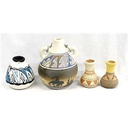 4 Pieces of Native American Navajo Pottery