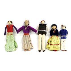 5 Vintage Native American Navajo Dolls