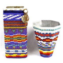 2 Hand Beaded Metal Vases by Kathy Kills Thunder