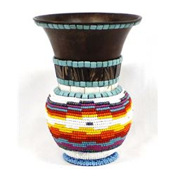 Hand Beaded Metal Vase by Kathy Kills Thunder