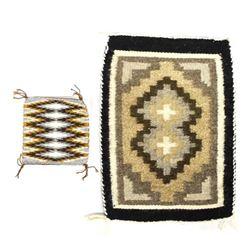 2 Native American Navajo Wool Textile Samplers