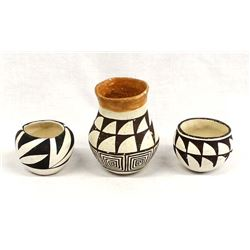 3 Pieces of Vintage Native American Acoma Pottery