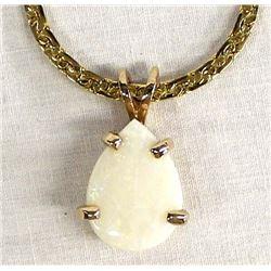 14K Gold Electroplate Opal Pendant Necklace