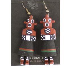 Navajo Carved Wood Mudhead Kachina Earrings