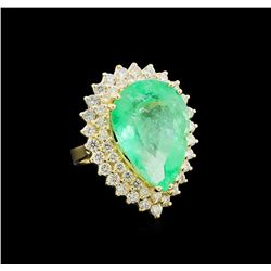 GIA Cert 17.66 ctw Emerald and Diamond Ring - 14KT Yellow Gold