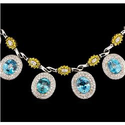 42.82 ctw Blue Zircon and Diamond Necklace - 14-18KT White And Yellow Gold
