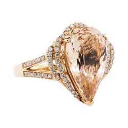 7.84 ctw Morganite and Diamond Ring - 14KT Rose Gold