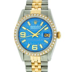 Rolex Mens 2 Tone 14K Blue Wave 36MM Datejust Wristwatch