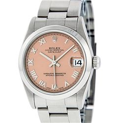 Rolex Womens Midsize 31mm Stainless Steel Salmon Roman Datejust Wriswatch