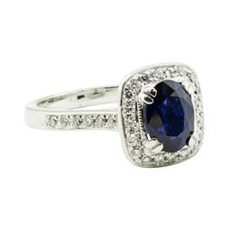 1.68 ctw Oval Brilliant Blue Sapphire And Diamond Ring - 14KT White Gold
