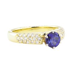 1.27 ctw Sapphire And Diamond Ring - 18KT Yellow Gold