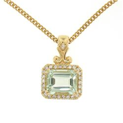"14K Yellow Gold 3.77 ctw VS Diamond Green Amethyst Pendant w/ 20"" Curb Chain"