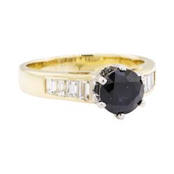 1.55 ctw Sapphire and Diamond Ring - 14KT Yellow and White Gold