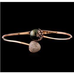 0.51 ctw Diamond and Pearl Bracelet - 14KT Rose Gold