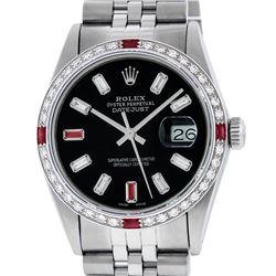 Rolex Mens Stainless Steel Black Baguette Diamond Ruby & 36MM Datejust Wristwatc