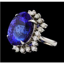 GIA Cert 22.45 ctw Tanzanite and Diamond Ring - 14KT White Gold