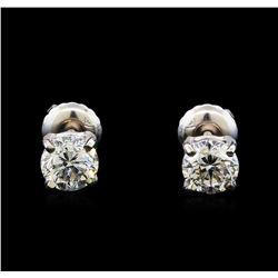 1.06 ctw Diamond Stud Earrings - 14KT White Gold
