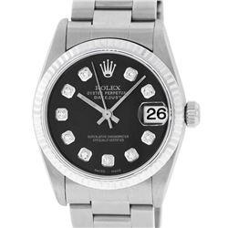 Rolex Womens Midsize 31mm 18K Gold Bezel Black Diamond Stainless Steel Datejust