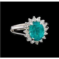 3.48 ctw Apatite and Diamond Ring - 14KT White Gold