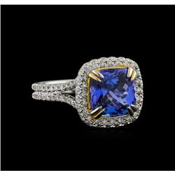 14KT Two-Tone Gold 4.29 ctw Tanzanite and Diamond Ring