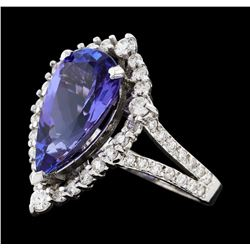 4.16 ctw Tanzanite and Diamond Ring - 14KT White Gold