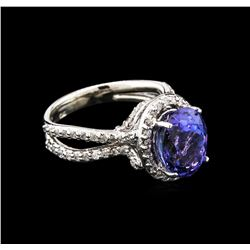 4.41 ctw Tanzanite and Diamond Ring - 14KT White Gold