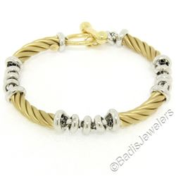 14kt Yellow Gold Twisted Tube and 14kt White Gold Rolo Link Chain Toggle Bracele