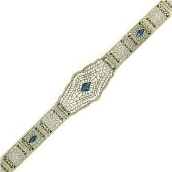 "Antique Art Deco 10k White Gold 7"" Wide Marquise Filigree & Sapphire Bracelet"