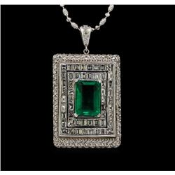 Platinum GIA Certified 6.98 ctw Emerald and Diamond Pendant With Chain